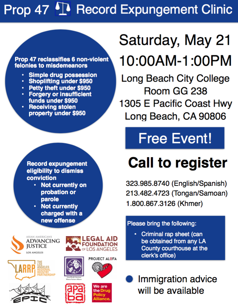 Prop  47 Record Expungement Clinic – Long Beach   My Prop 47