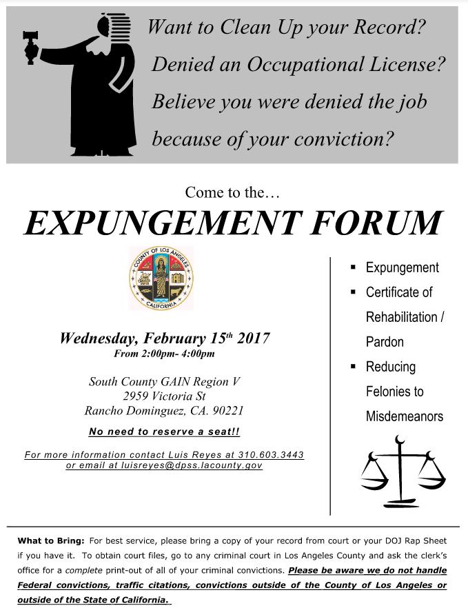 Expungement Forum My Prop 47